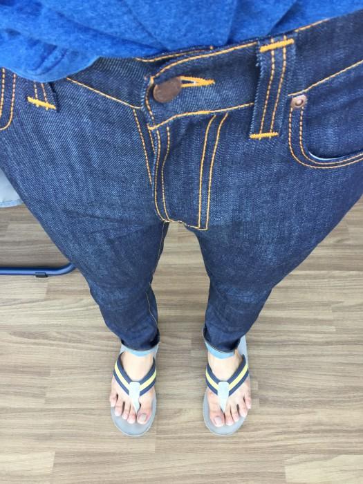 NudieJeans Thin Finn Dry Ecru Embo