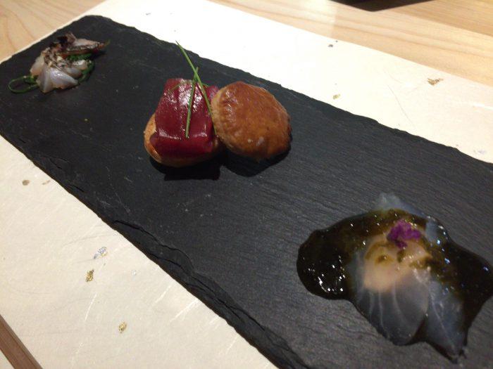 庭 Garden of four seasons (ガーデンオブフォーシーズンズ) 太刀魚の土佐醤油和え マグロの一口タルト ウマズラハギの肝和え