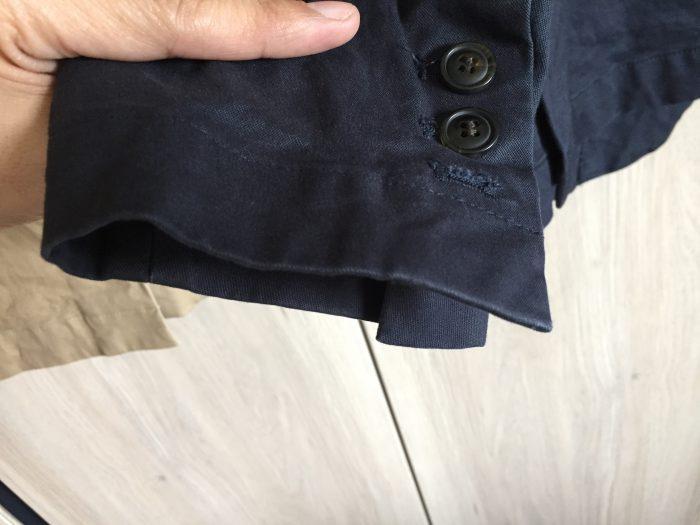 コットンチノジャケットの洗濯・乾燥機後 アタリ