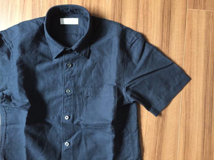 ユニクロ UNIQLO ネイビー リネンコットンシャツ