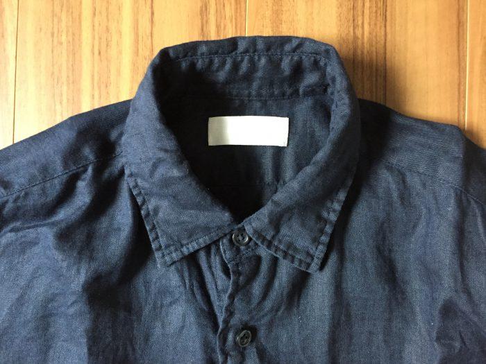 ネイビーのリネンシャツのエイジング(経年変化)状況 襟