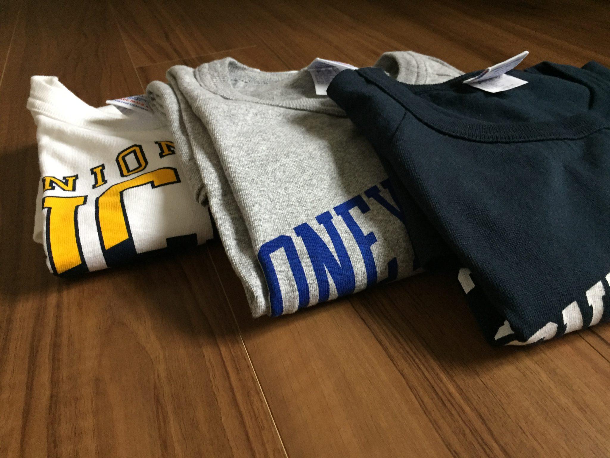 Champion(チャンピオン)T1011~7分袖のプリント付きを3枚購入。春秋のコーディネートを考えてみる。