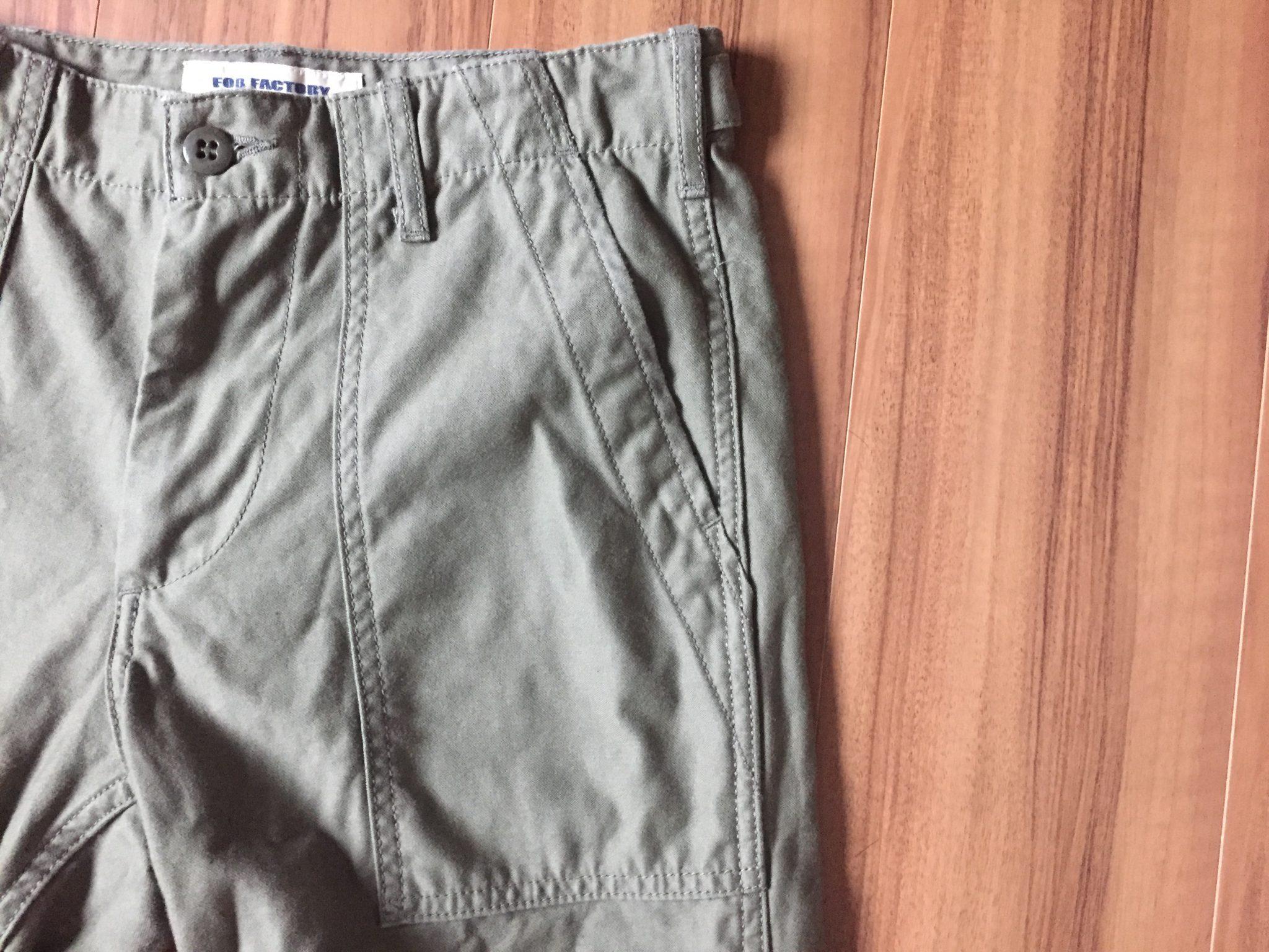FOB Factory ベイカーパンツ~4日60時間穿いてから3回目の洗濯乾燥。丈の縮みはさらに0.5cmで、これでジャスト。