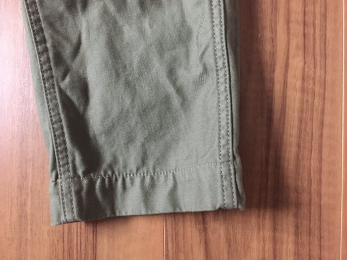 FOBファクトリー ベイカーパンツ 裾 洗濯後
