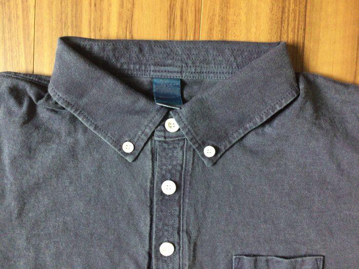 Good On ショートスリーブポロシャツ はじめてのGood On。はじめてのピグメントダイ ネイビー ブラック ステッチ 襟