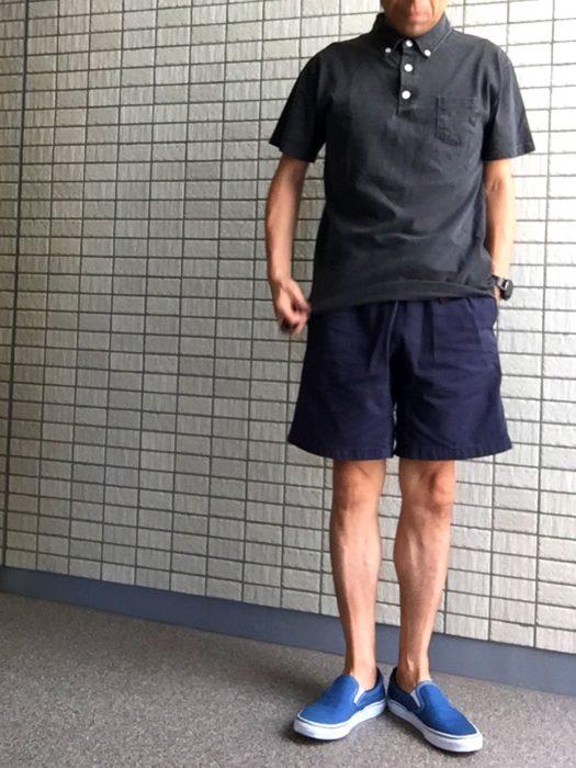 Goodon ピグメントダイポロシャツとコーディネートしたグラミチショーツとNNショーツの比較 グラミチショーツ(G-shorts)
