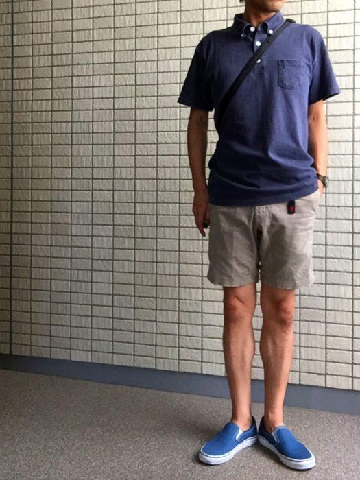 Goodon ピグメントダイポロシャツとコーディネートしたグラミチショーツとNNショーツの比較 ニューナローショーツ(NN-shorts)