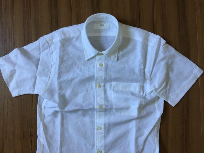 UNIQLO リネンコットン半袖シャツ ホワイト XS