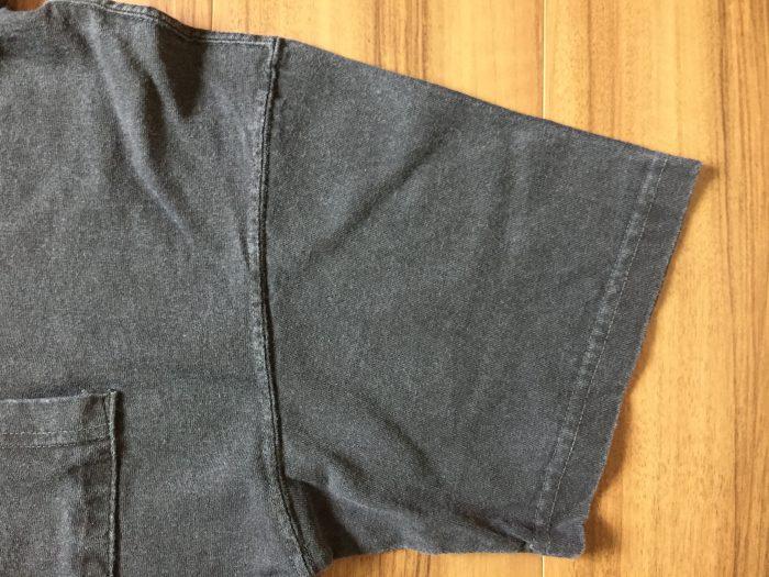 Good On(グッドオン)ピグメントダイ ショートスリーブポロシャツ ブラック エイジング 経年変化 1か月 袖 ポケット 周辺