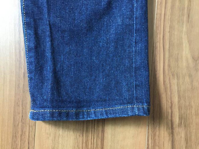 ジーンズ デニム ブリーチ後の裾