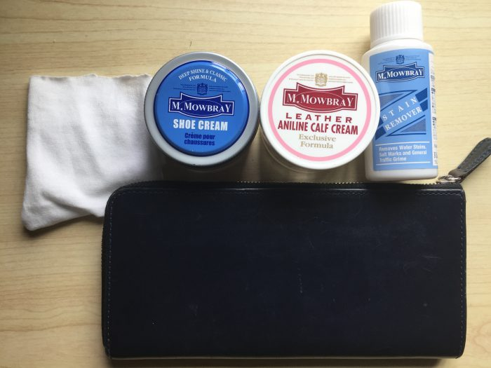ブライドルレザーの長財布の水シミケアのためのメンテナンス方法