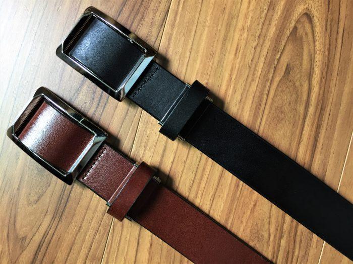 栃木レザー 無段階スライド式ベルト~ブラックとダークブラウンを色ち買い