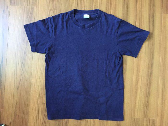 ユナイテッドアスレ 6.2oz Tシャツ|ネイビーのエイジングの様子