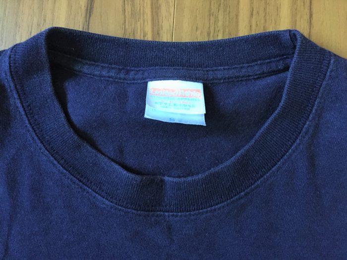 ユナイテッドアスレ 6.2oz Tシャツ|ネイビーのエイジングの様子 襟 首