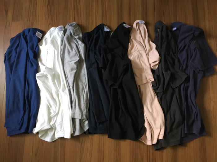 Champion(チャンピオン)T1011とGoodon(グッドオン)のピグメントダイを乾燥機にかけてサイズダウン~コットンTシャツの洗濯・乾燥による縮みの記録 裏返し