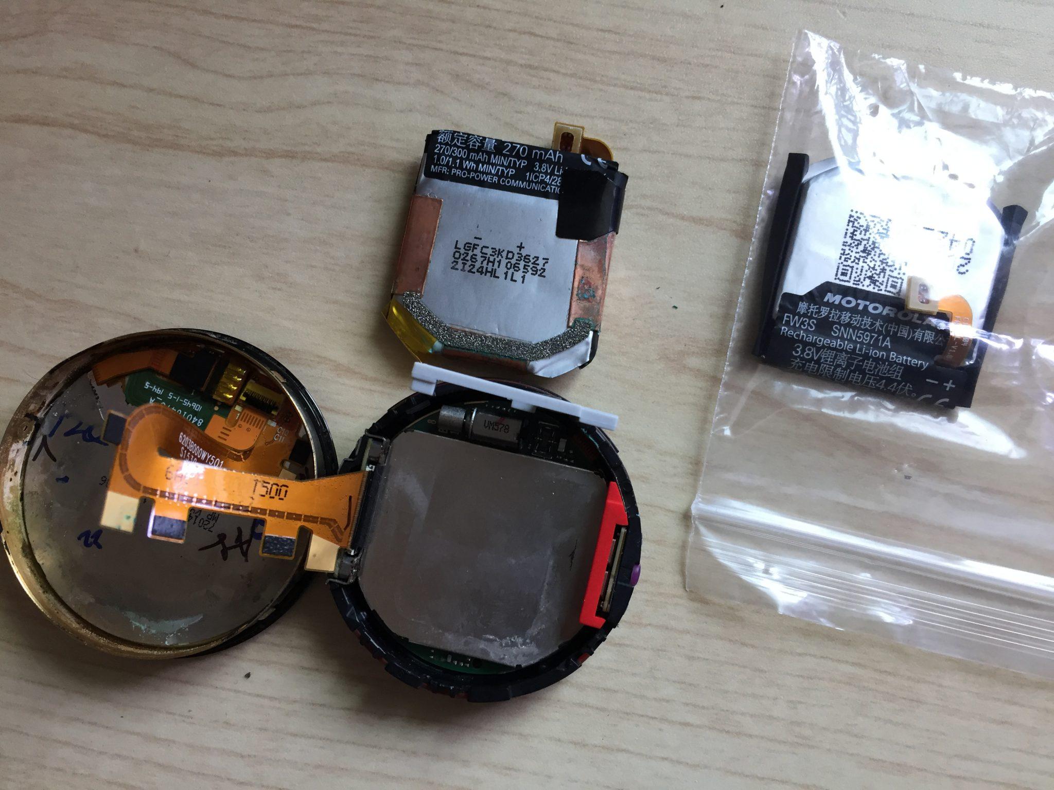 eBayで注文した「moto360(2nd Gen)」の交換用バッテリーが無事届いて早速交換したのでその結果を。。