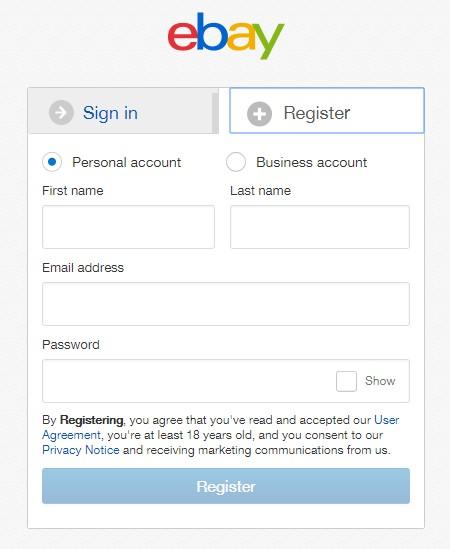 ebayregister ユーザー登録ページ