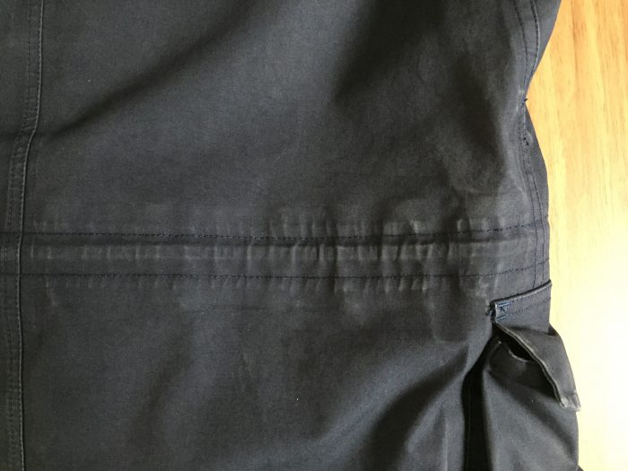 nanamica(ナナミカ)GORE-TEX Cruiser Jacket 2年目のエイジング(経年変化)の記録 ドローコード 背面