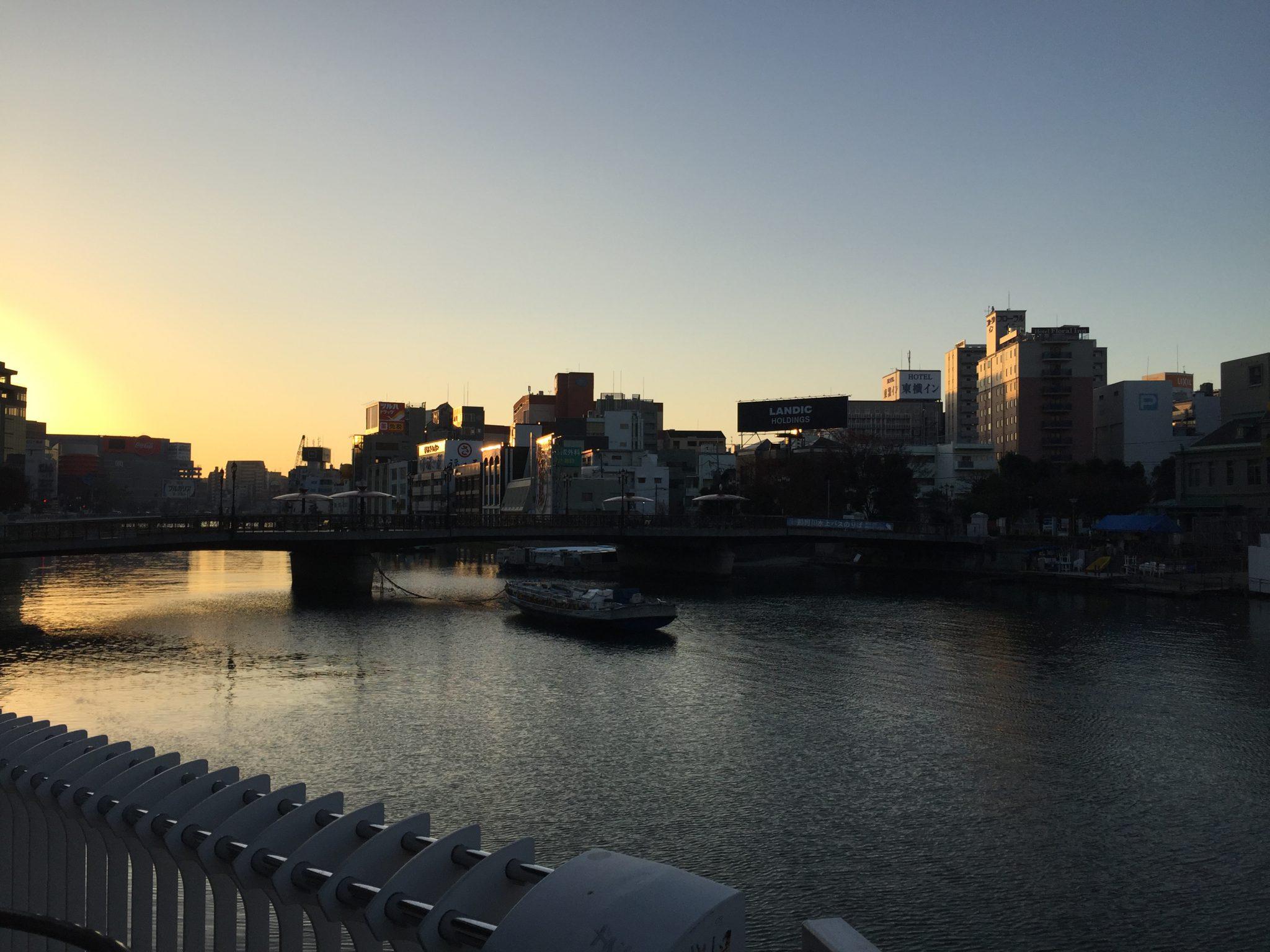 博多 中州 朝 日の出