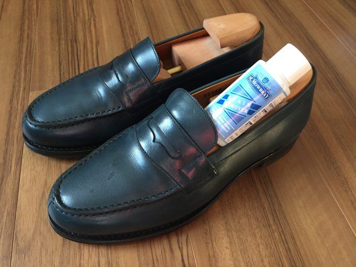 Jalan  Sriwijaya(ジャランスリワヤ)コインローファー ネイビー 革靴 シミ ステインリムーバー