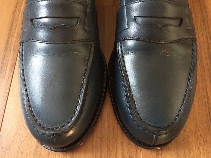 Jalan  Sriwijaya(ジャランスリワヤ)コインローファー ネイビー 革靴 シミ シュークリームジャー ネイビー