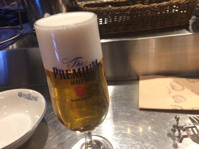東京オイスターバー 五反田 ビール プレミアムモルツ