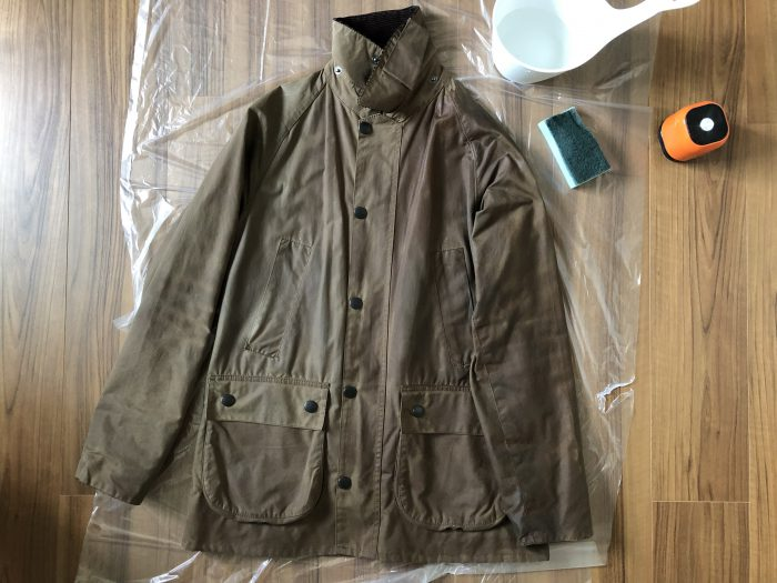 Barbour Bedale(バブアー ビデイル) 水拭き 途中経過