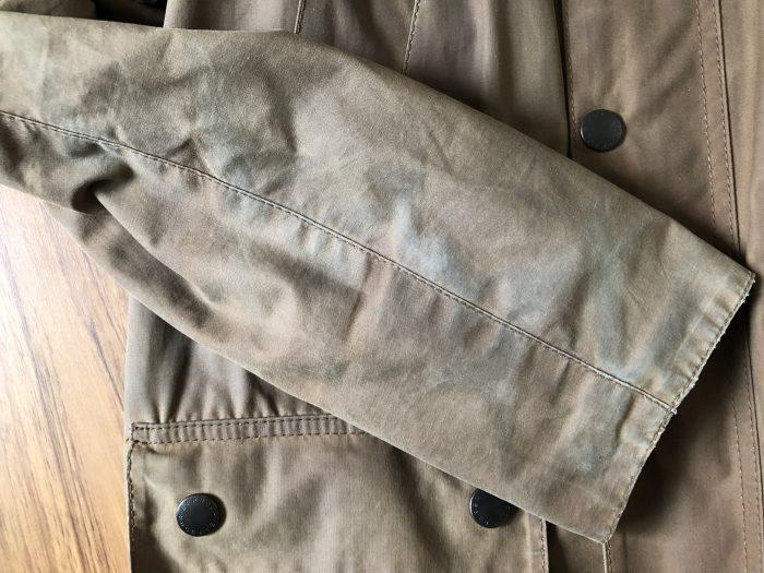 Barbour Bedale(バブアー ビデイル) 水拭き後 袖