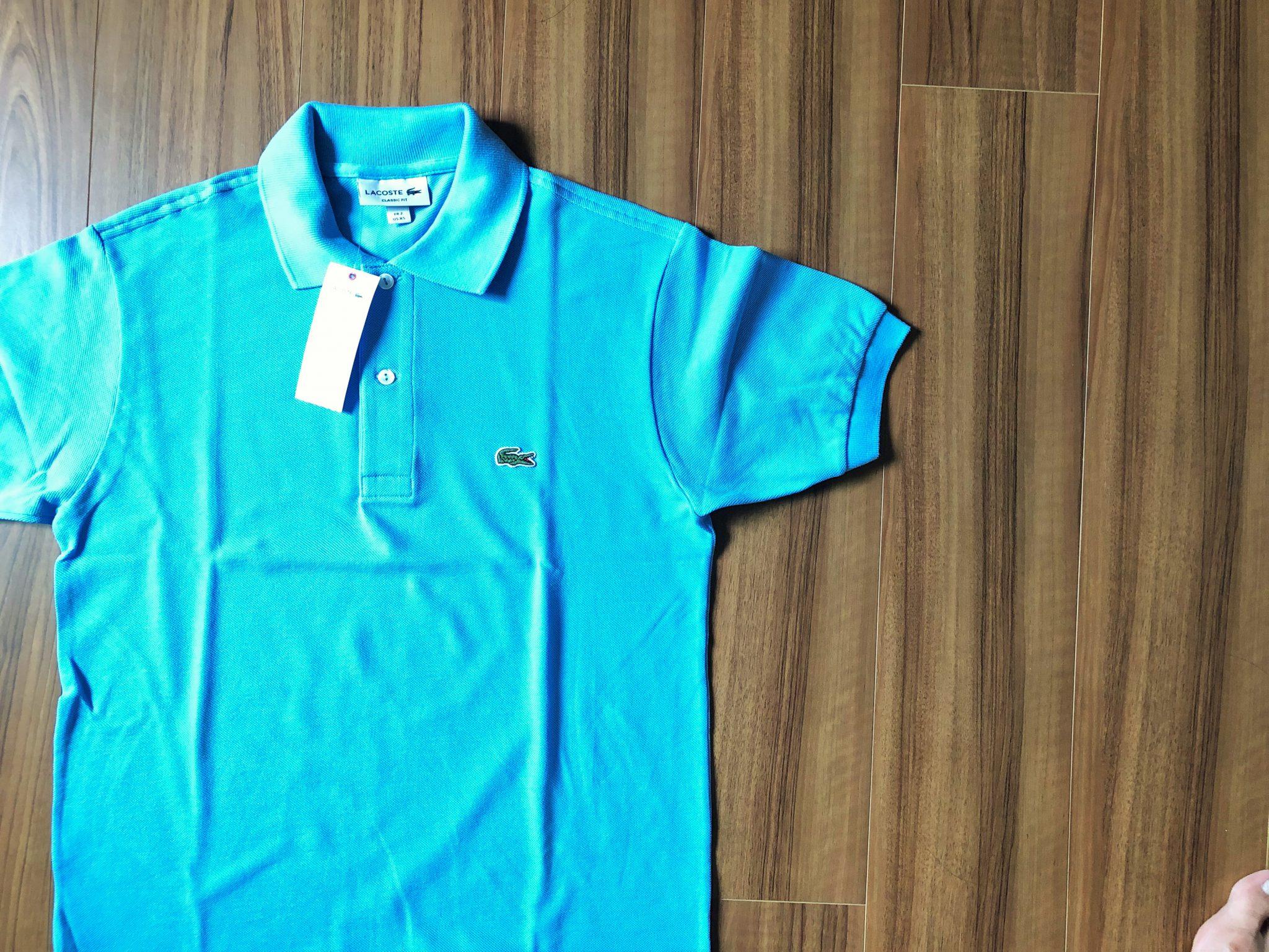 ラコステ フララコ(LACOSTE L1212)ポロシャツ|2枚目のフララコはオーシャンブルー。乾燥機に入れてサイズダウンにチャレンジ。