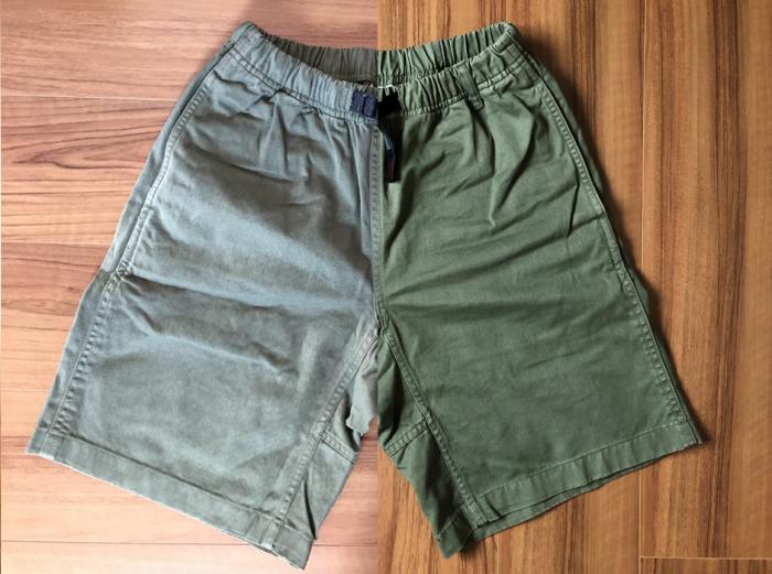 グラミチ Gショーツ(Gramicci G-Shorts) エイジング 経年変化 オリーブ