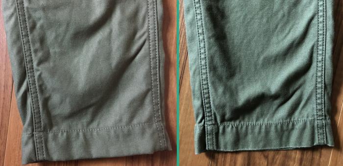 fobファクトリー ベイカーパンツ オリーブ エイジング 経年変化 裾