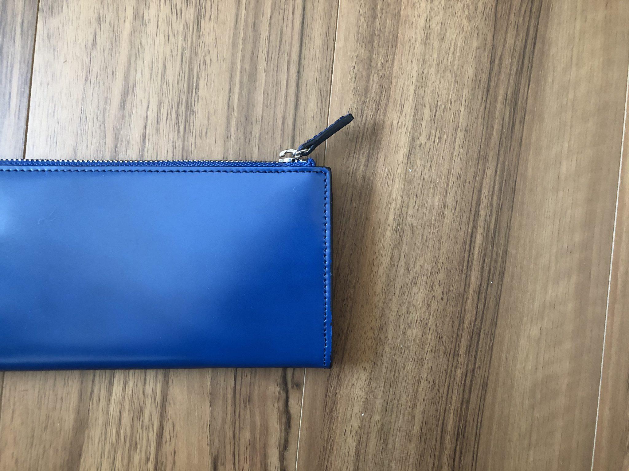 新喜皮革コードバンL字ファスナーロングウォレット(長財布)~思った以上にブルーがこんがらがっていますが、エイジング(経年変化)を楽しみに永く使います
