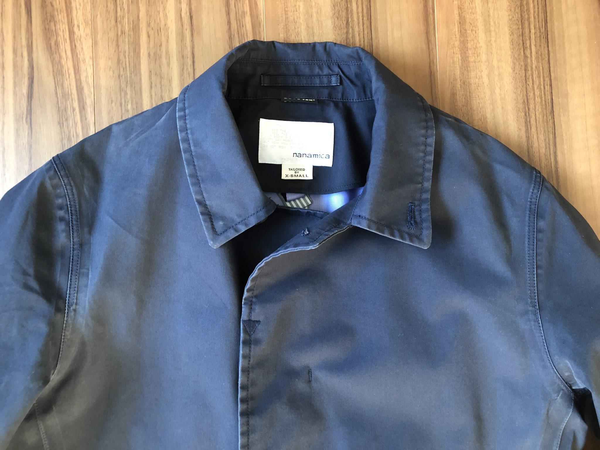 ナナミカ ゴアテックス ステンカラーコート nanamica GORE-TEX Soutien Collar Coat 3年目 洗濯後 エイジング 経年変化 襟元