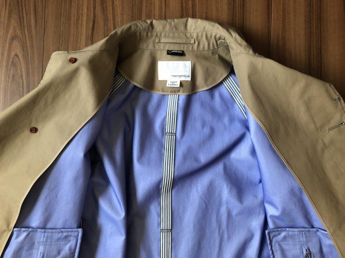 ナナミカ ゴアテックス ステンカラーコート nanamica GORE-TEX Soutien Collar Coat ベージュ 購入当初 内側