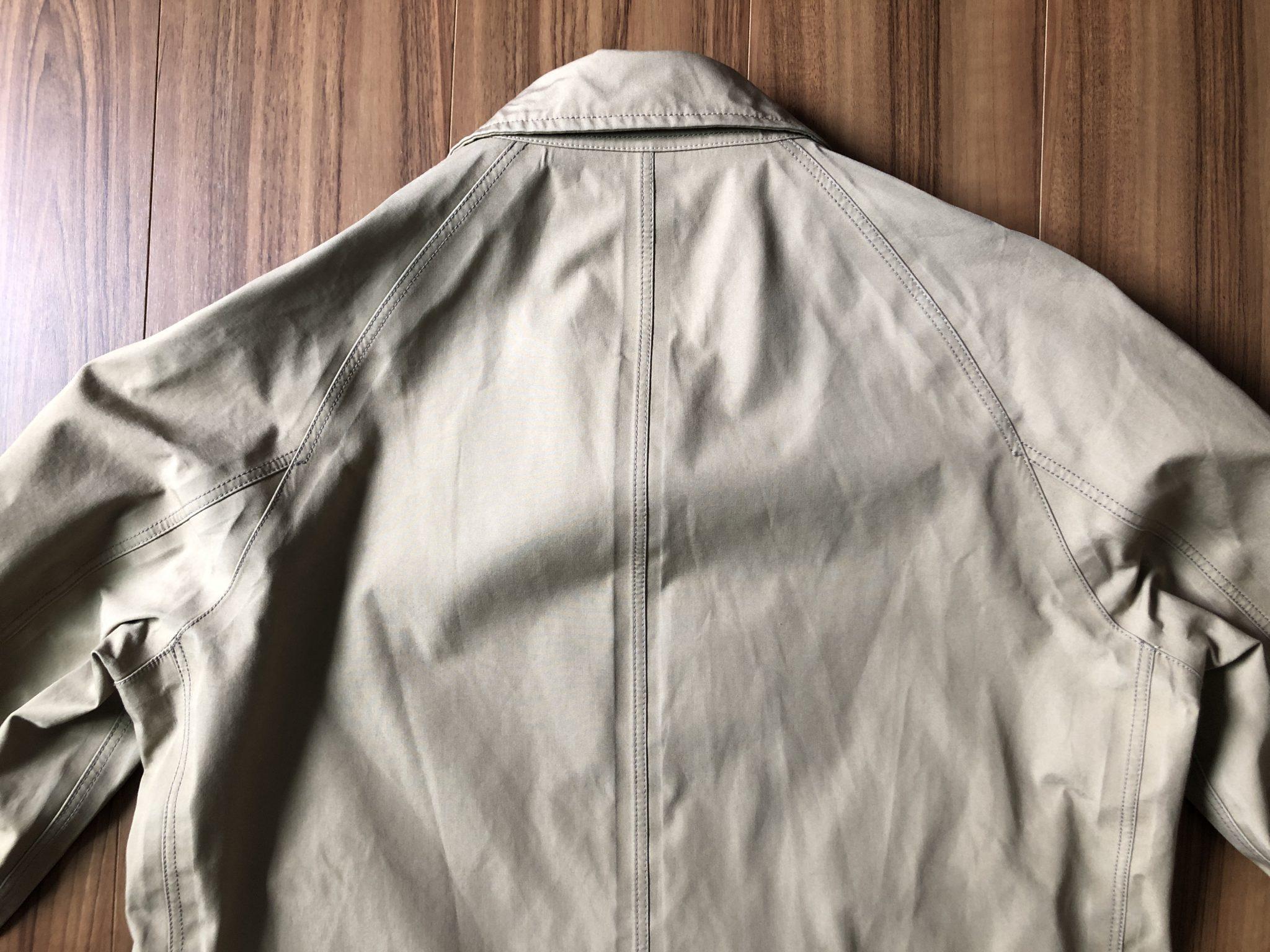 ナナミカ コットンゴアテックス nanamica GORE-TEX クルーザージャケット エイジング 経年変化 ステンカラーコート ベージュ 半年 背中