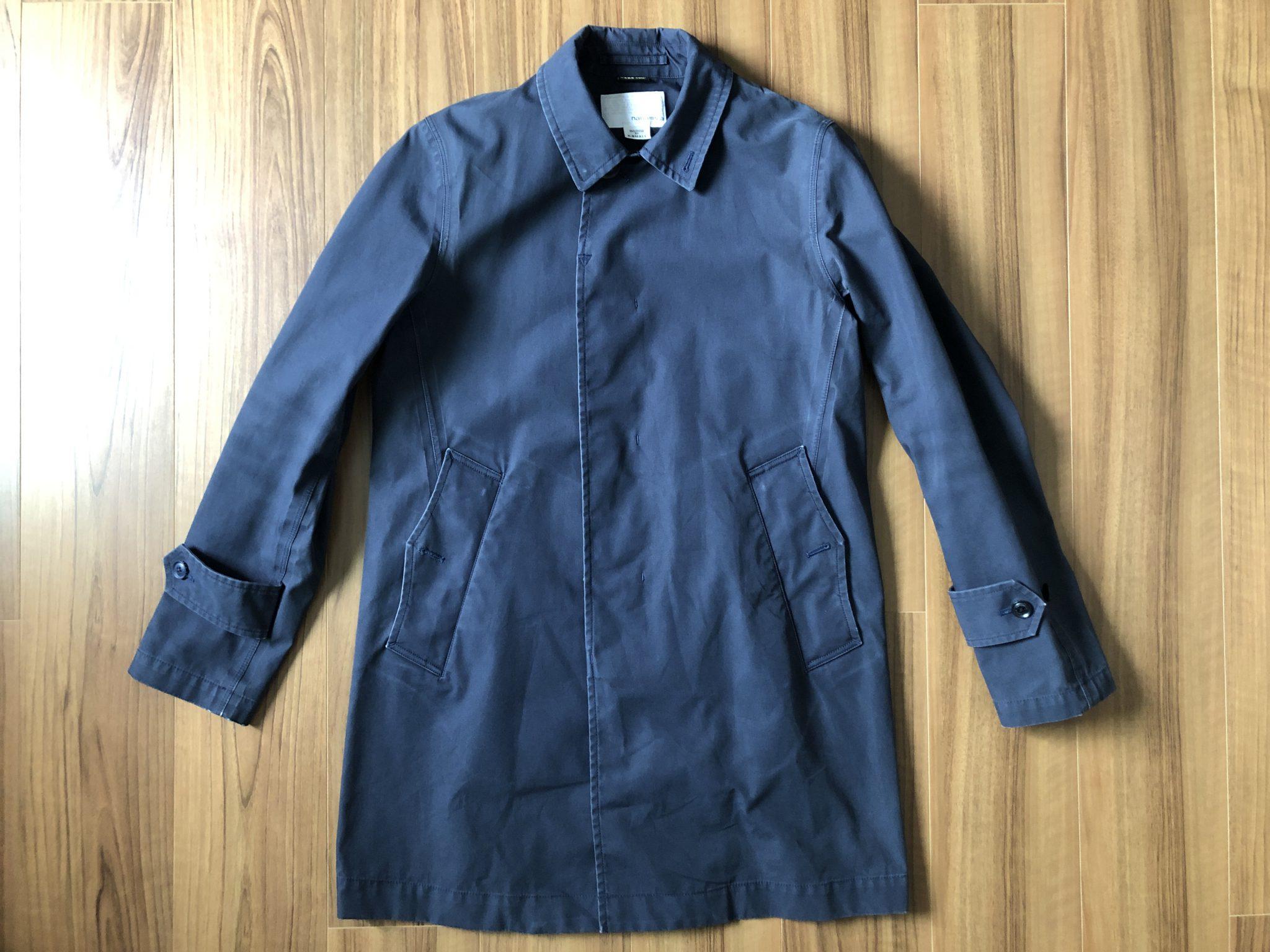 ナナミカ コットンゴアテックス nanamica GORE-TEX クルーザージャケット エイジング 経年変化 ステンカラーコート ネイビー 2年 全体観