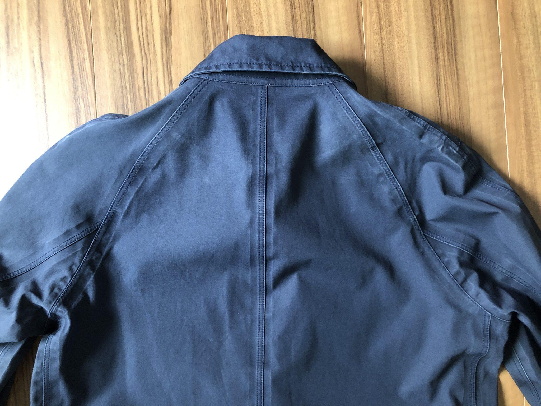 ナナミカ コットンゴアテックス nanamica GORE-TEX クルーザージャケット エイジング 経年変化 ステンカラーコート ネイビー 2年 背中