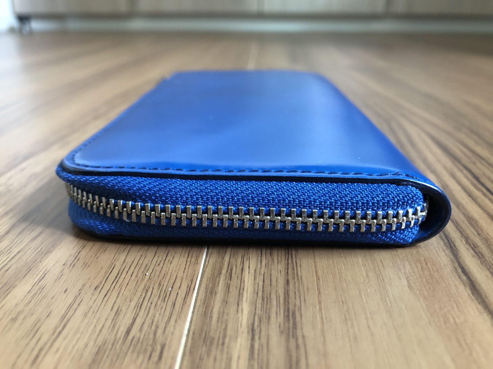 コードバン L字 財布 ウォレット エイジング 経年変化 半年 側面 ファスナー面