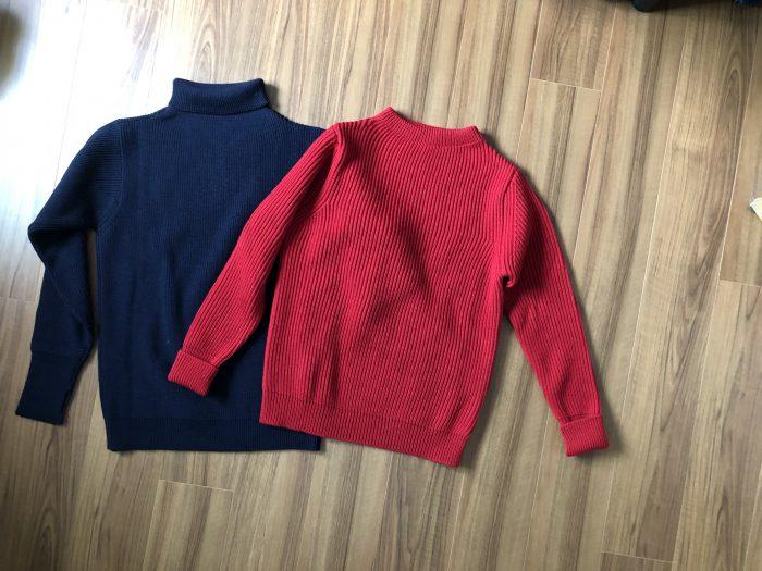 アンデルセンアンデルセン(ANDERSEN-ANDERSEN)|ネイビー(5G)クルーネックセーターとセイラー(7G)タートルネックセーターのサイズ感や生地感の比較