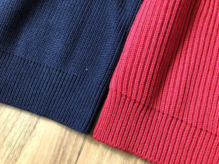 アンデルセンアンデルセン(ANDERSEN-ANDERSEN)ネイビー(5G)セーターとセイラー(7G)セーターのサイズ感・生地感 厚さ