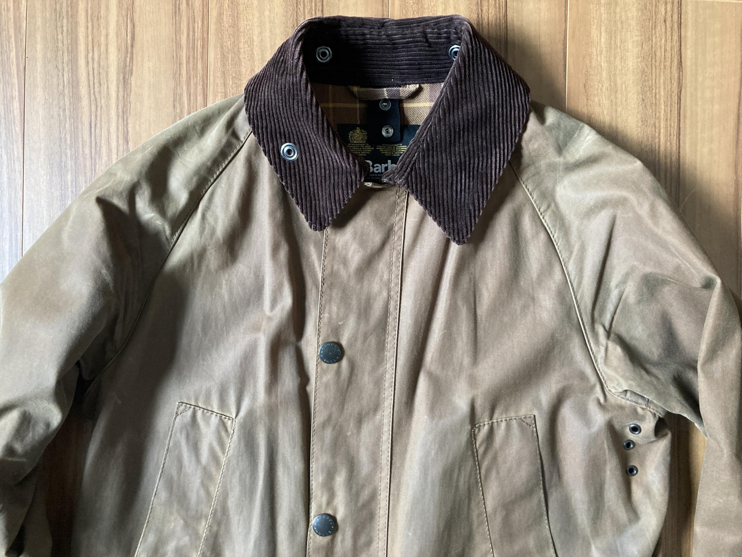 バブアー ビデイル BARBOUR BEDALE SL バーク Bark ブラウン 5年後 エイジング 経年変化 襟元