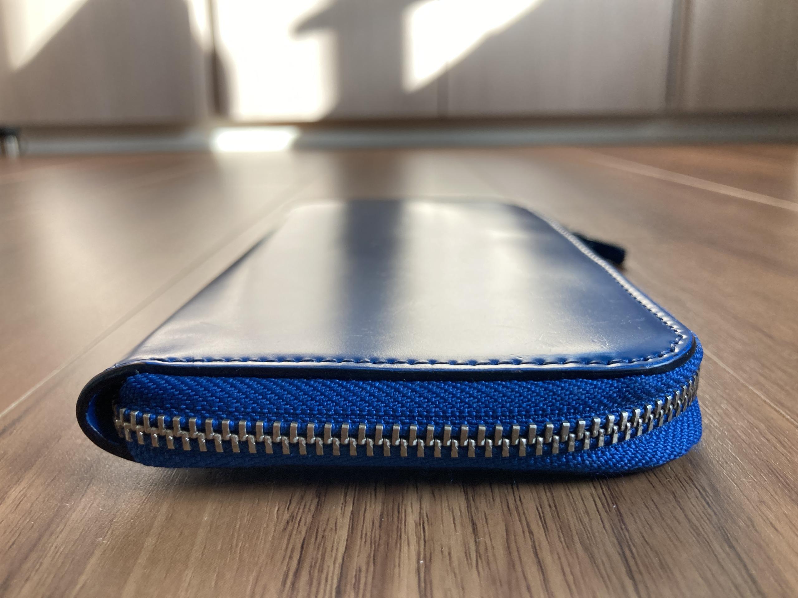 新喜皮革コードバンL字ファスナーロングウォレット 長財布 1年3ヶ月 エイジング 経年変化 側面 ファスナー