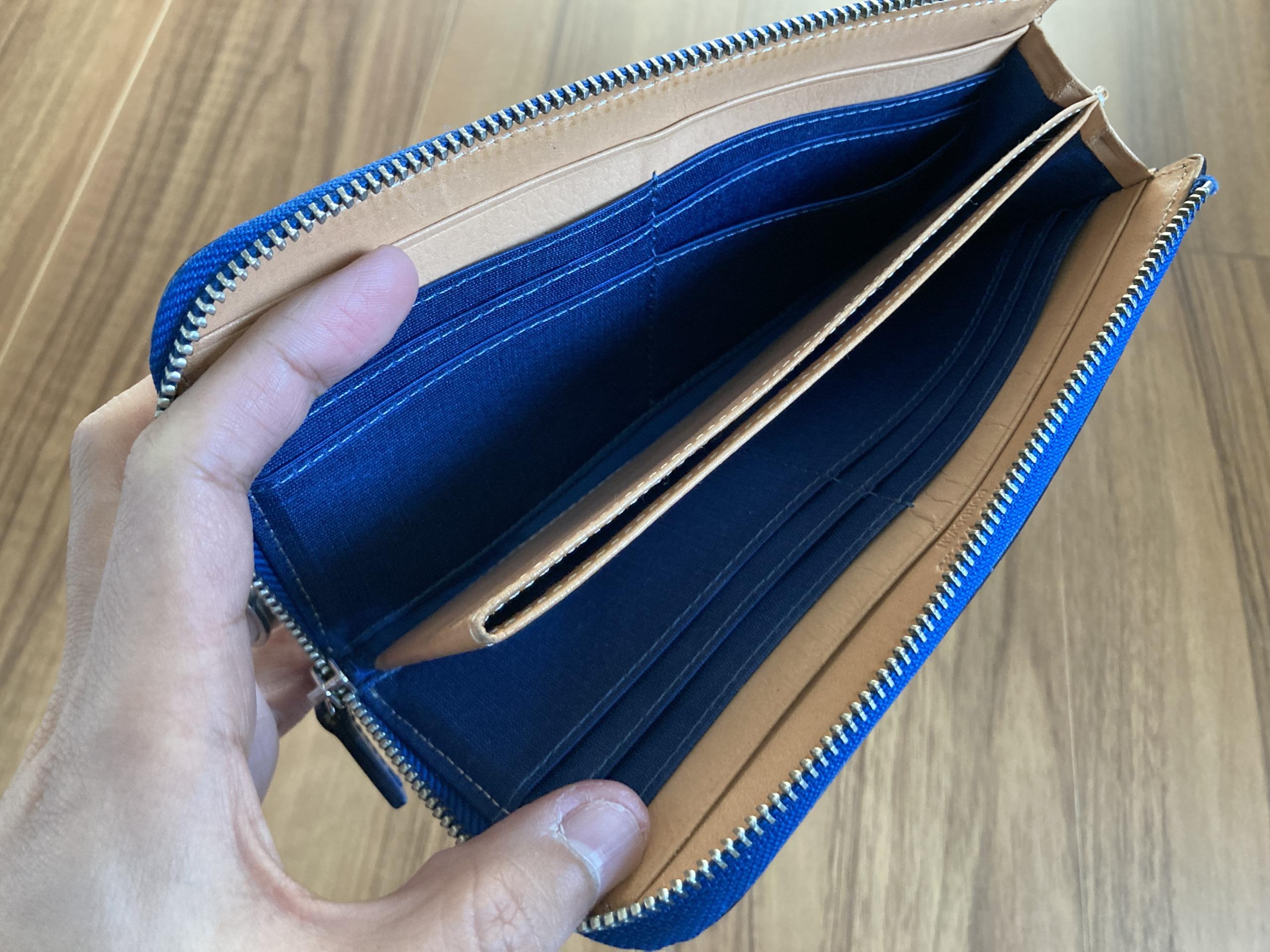 新喜皮革コードバンL字ファスナーロングウォレット 長財布 1年3ヶ月 エイジング 経年変化 内側