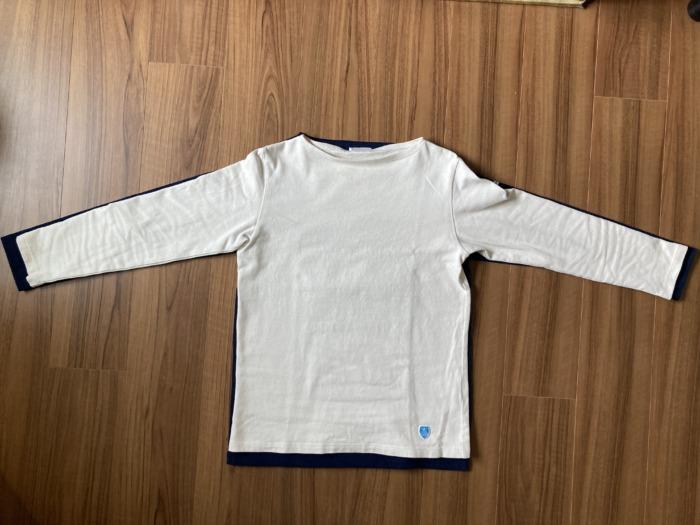 オーシバル Orcival コットンロード バスクシャツ Marine マリン ネイビー 購入当初 エクリュー 洗濯 サイズ 比較