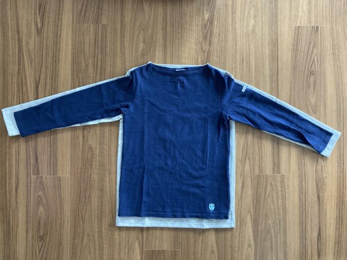 オーシバル Orcival コットンロード バスクシャツ グレー SAKTEDGREY 購入当初 ネイビーとのサイズ感の比較
