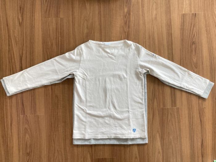 オーシバル Orcival コットンロード バスクシャツ グレー SAKTEDGREY 購入当初 エクリューとのサイズの比較